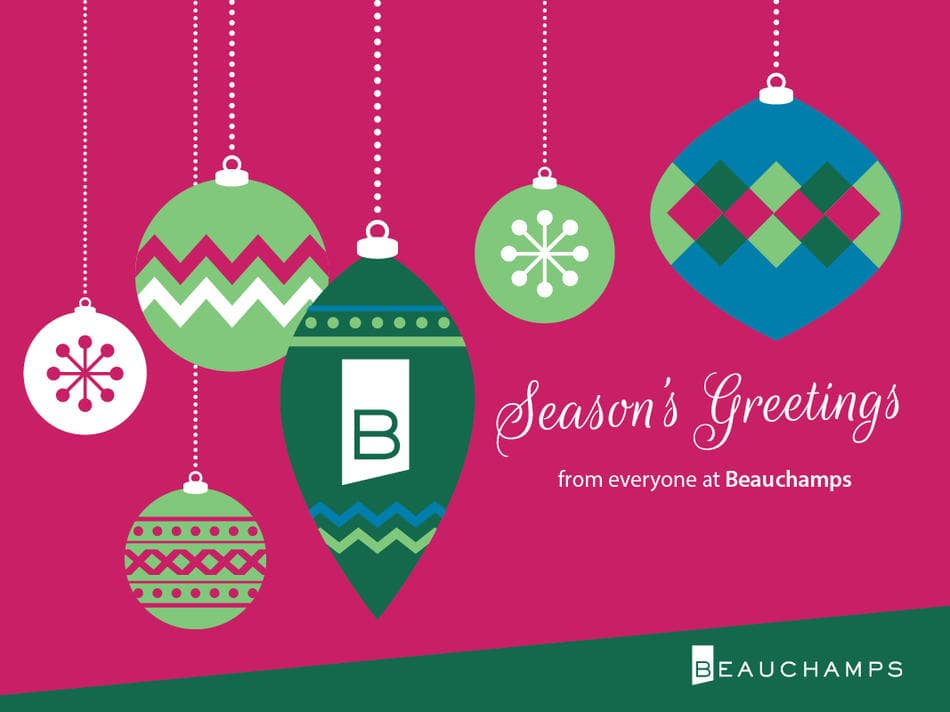 Beauchamps Christmas card - hanging baubles with Beauchamps branding and Season's greetings message