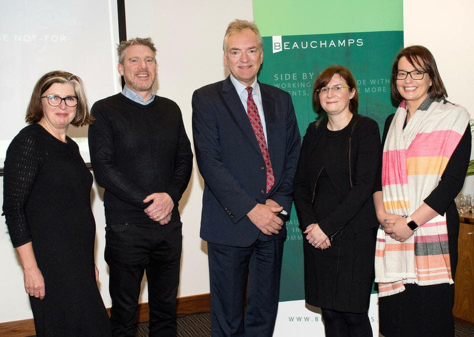 Speakers Claire Callanan, Ivan Cooper, Mark Pery-Knox-Gore, Helen Martin and Deirdre Carwood at the Beauchamps Charities and Not-for-profit event 2018
