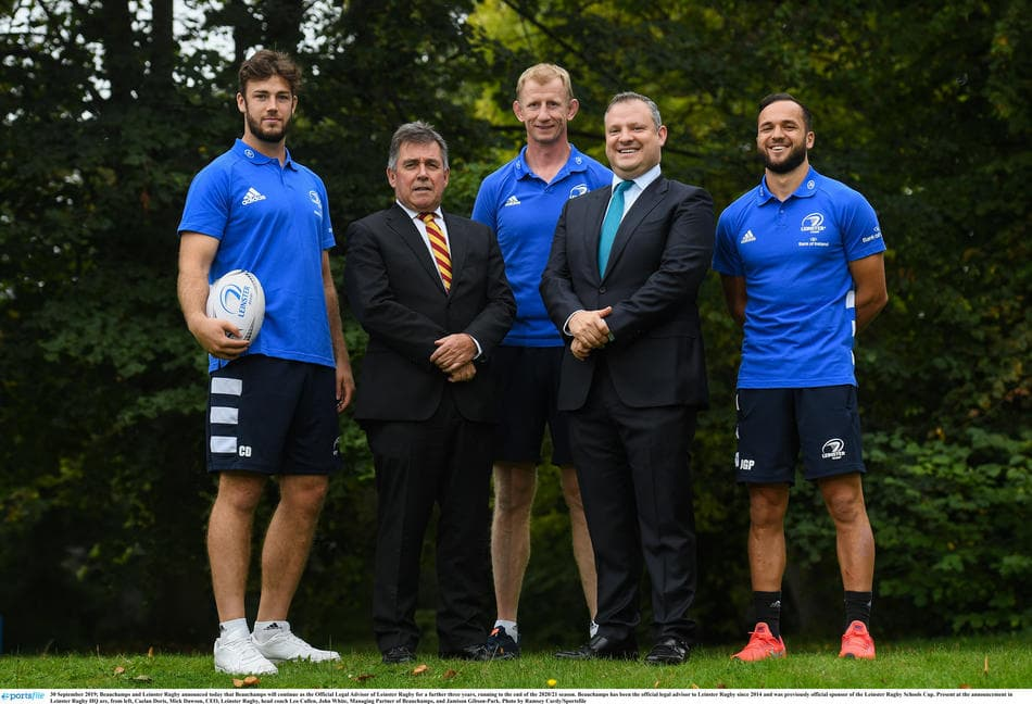 Beauchamps sponsorship renewal announcement with John White, Leo Cullen, Mich Dawson, Caelan Doris and Jamison Gibson-Park