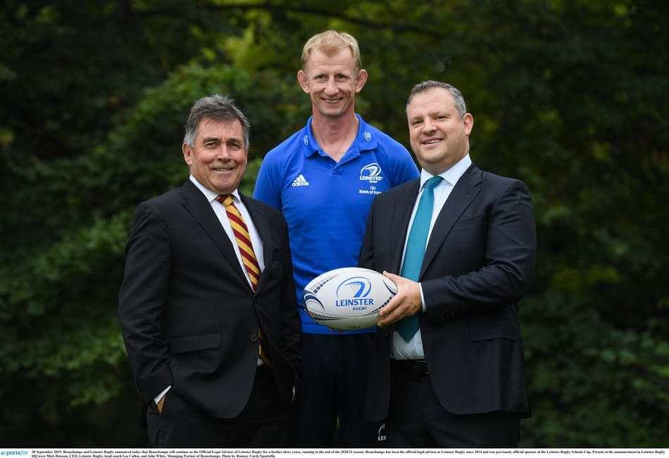 Leinster sponsorship renewal photo with Mick Dawson, Leo Cullen and John White