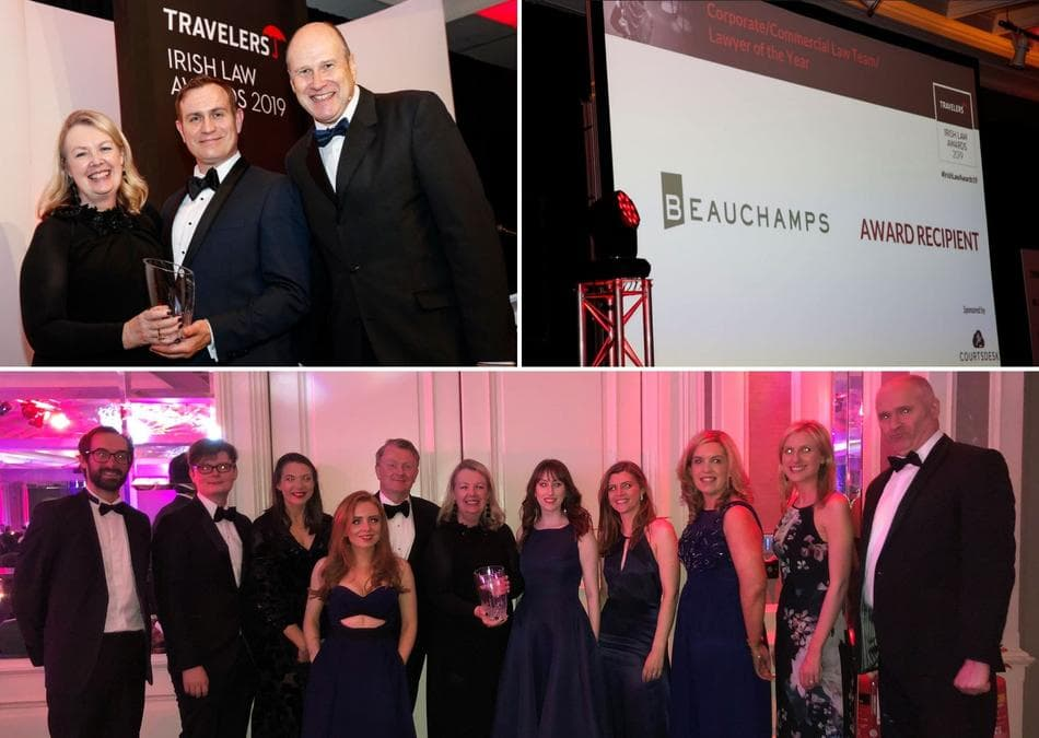 Irish Law awards 2019 collage of Beauchamps' win
